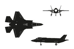 Black silhouette of military aircraft on white background. Top,. Side, front views. Fighter jet. Vector illustration Stock Images