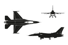 Black silhouette of military aircraft on white background. Top,. Side, front views. Vector illustration Stock Image
