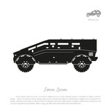 Black silhouette of military car on white background. War SUV in Stock Photos