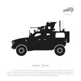 Black silhouette of military car on white background. War SUV in Royalty Free Stock Photography