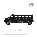Black silhouette of military car on white background. War SUV in Royalty Free Stock Images
