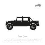 Black silhouette of military car on white background. War SUV in Royalty Free Stock Image