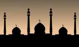 The black silhouette of a mosque at sunset background. Vector Illustration Stock Illustration