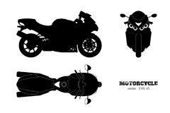 Black silhouette of motorcycle. Side, top and front view. Detailed isolated blueprint of motorbike on white background Stock Images