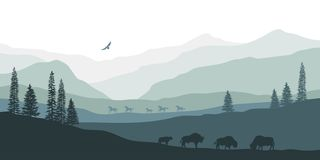 Black silhouette of mountain landscape. American bison. Natural panorama of forest animals. Isolated western scenery. Wildlife scene. Vector illustration vector illustration