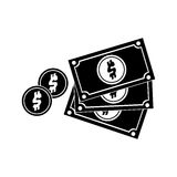 Black silhouette multiple bills with coin Royalty Free Stock Photo