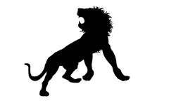 Black Silhouette Of Lion Isolate Royalty Free Stock Image