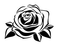 Free Black Silhouette Of Rose. Vector Illustration. Royalty Free Stock Images - 28038579