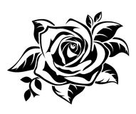 Black Silhouette Of Rose With Leaves. Stock Images