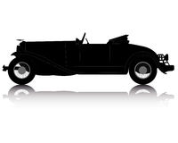 Black silhouette of an old convertible. On an white background Royalty Free Stock Image