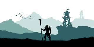 Black silhouette of orc warrior on background of tower. Fantasy landscape. Medieval panorama. Battle watchtower Stock Image