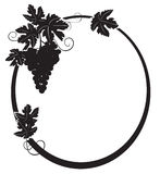 Black silhouette - oval frame with grape - vector Stock Image