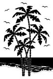 Black silhouette palm tree   Royalty Free Stock Image