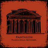Black silhouette Pantheon hand drawn vector Royalty Free Stock Images