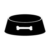 Black silhouette pet bowl with bone symbol Stock Image