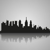 Black silhouette of Philadelphia with reflection. Vector illustration Stock Photography