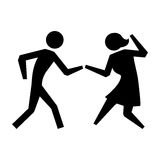 Black silhouette pictogram couple dancing Royalty Free Stock Photo