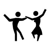 Black silhouette pictogram people dancing Stock Photo