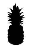 Black silhouette of pineapple on a white background. Vector illustration. Stock Photos