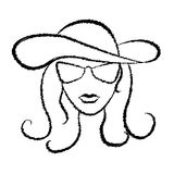 Black silhouette portrait of beautiful woman, dashed sketch Stock Photo