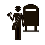 Black silhouette postman with mailbox Royalty Free Stock Image
