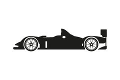 Black silhouette of a racing car on a white background Stock Photo
