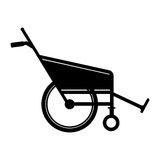 Black silhouette reclining wheelchair flat icon. Illustration Royalty Free Stock Image