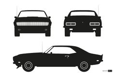 Black silhouette of retro car. American vintage automobile of 1960s. Front, side and back view. Classic auto. Vector illustration stock illustration