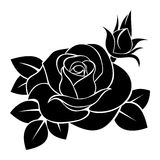 Black silhouette of rose. Vector illustration.