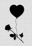 Black silhouette of rose flower flying on heart shaped helium ba. Lloon isolated on transparent background. Monochrome vector illustration, symbol, sign, clip Royalty Free Stock Images