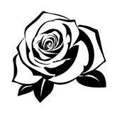 Black silhouette of rose with leaves. vector illustration