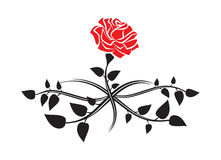 Black silhouette of rose with leaves. Tattoo style rose. Vector Stock Photos