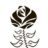 Black silhouette of rose with leaves. Vector illustration Stock Images