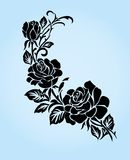 Black silhouette of rose. Stock Photos