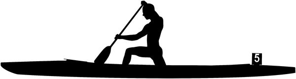 Black silhouette rower athlete in canoe Royalty Free Stock Image