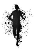 Black silhouette of a runner on ink splatter Stock Image