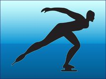SKATER SILHOUETTE ON BLUE BACKGROUND. Black silhouette of a running skater girl on a blue background Royalty Free Stock Photos