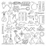 Black silhouette of scientific symbols. Chemistry and biology art. Education vector elements set. Scientific biology and physics experiment, research and test stock illustration