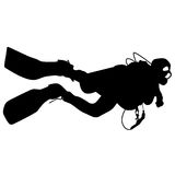 Black silhouette scuba divers. Vector illustration Royalty Free Stock Image