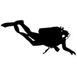 Black silhouette scuba divers. Vector illustration Royalty Free Stock Photos