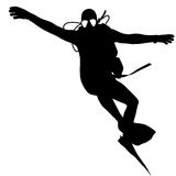 Black silhouette scuba divers. Vector illustration Royalty Free Stock Photo