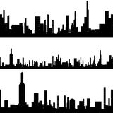 Black silhouette seamless cityscape Royalty Free Stock Photos