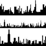 Black silhouette seamless cityscape Royalty Free Stock Photos