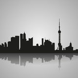 Black silhouette of Shanghai with reflection. Vector illustration vector illustration