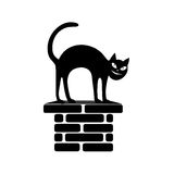 Black silhouette of the sitting cat on a flue. Royalty Free Stock Photo