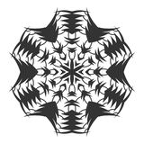 Black silhouette of a snowflake. Lace, round ornament and decor. Illustration Royalty Free Stock Photo