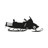 Black silhouette of a snowmobile on a white background Royalty Free Stock Image