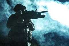 Black silhouette of soldier Royalty Free Stock Photos