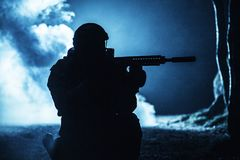 Black silhouette of soldier Stock Photography