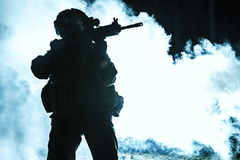 Black silhouette of soldier Stock Photos